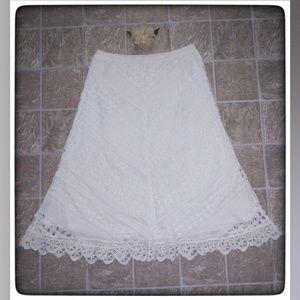 John Paul Richard White Crocheted Skirt Sz S
